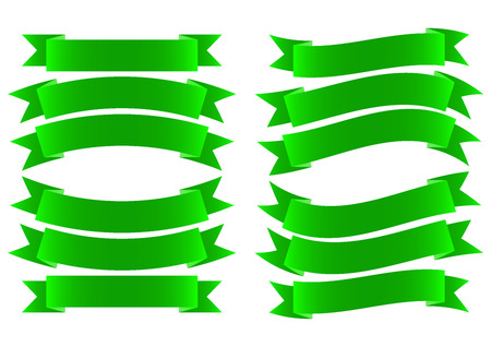 green ribbon: Green Ribbon Banner Style on White Background Vector Illustration