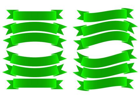 green ribbon: Green Ribbon Banner Style on White Background Vector Illustration
