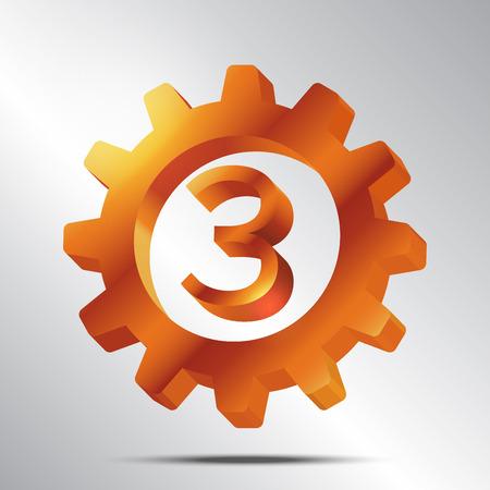 third wheel: Number 3 Bronze Gear on White Background Vector Illustration Illustration