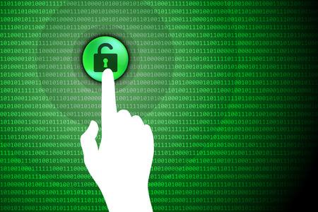 Green Technology Background Touch Unlock Button Vector Illustration.