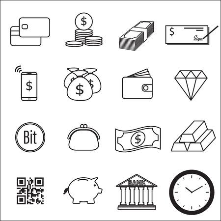 pouch: Set of Money Line Icon Vector Illustration Illustration