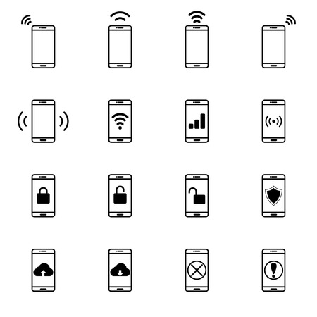 wireless signal: Set of Mobile Network Line Icon Vector Illustration