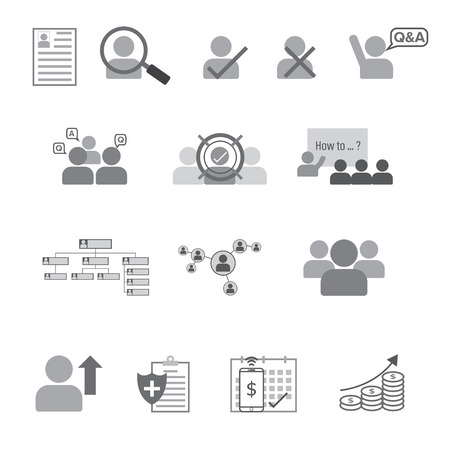 wages: Set of Human Resource Flat Line Icon Vector Illustration