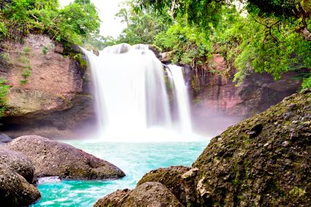 korat: Haew Suwat : One of Khao Yai Most Visited Waterfall in Thailand, Overexposure Techniques Stock Photo