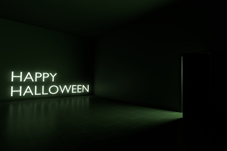 halloween background: Happy Halloween Word Glow in the Dark Empty Room. Green Light from the Door Looks Awesome. 3D Render Stock Photo