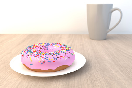 Pink Doughnut on Wood Table Selective Focus 3D Render