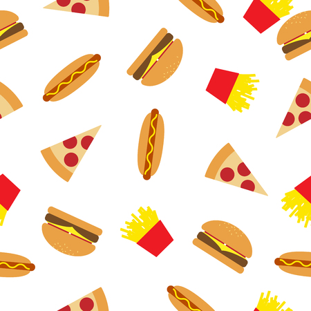 Fast Food Seamless Pattern, for Example, Burger, Pizza and more.
