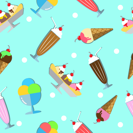 The Seamless Pattern of Many Dessert, for Example, Banana Split, Milk Shake and More. Illustration