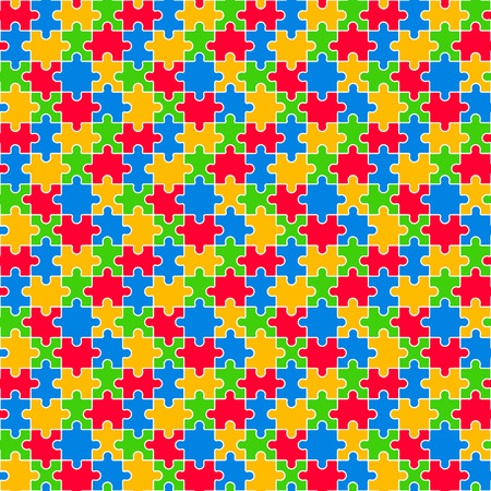 Colorful Jigsaw Seamless Pattern Vector Illustration