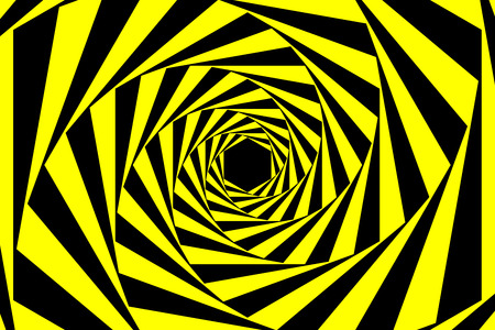 Black Yellow Warning Spiral Tunnel Abstract Background Vector Illustration