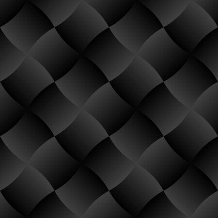 Illustrazione di vettore del fondo senza cuciture del modello delle mattonelle di pendenza della curva nera 3D