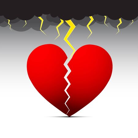 Heart Break Dark Cloud with Thunderstorm Dark Emotion Vector Illustration