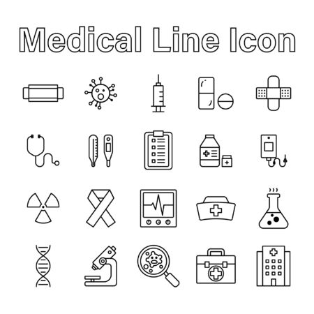 Set of Medical Line Icon Editable Stroke on White Background Vector Illustration