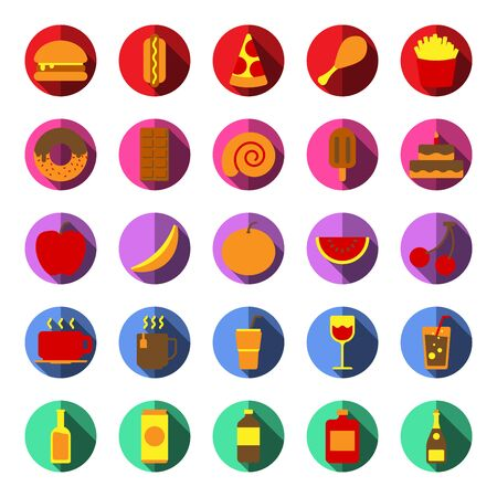 Food and Drink Icon Set Color and Long Shadow Vector Illustration