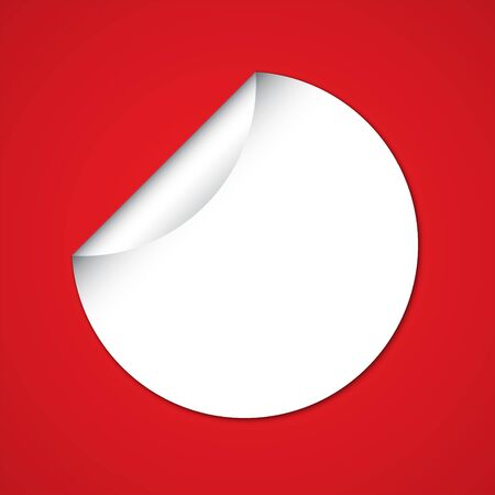 White Blank Circle Sticker on Red Background with Copy space Vector Illustration