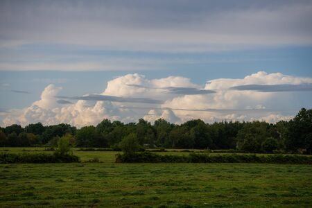 Panoramic  view on huge cloud formations