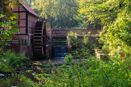At the  Huder monastery ruins there is a stream with a water wheel and a bridge