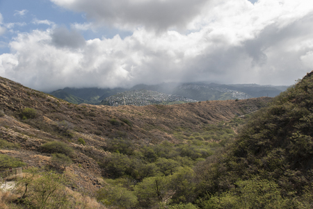 diamond head: View from Diamond Head on Oahu, Hawaii, United States.