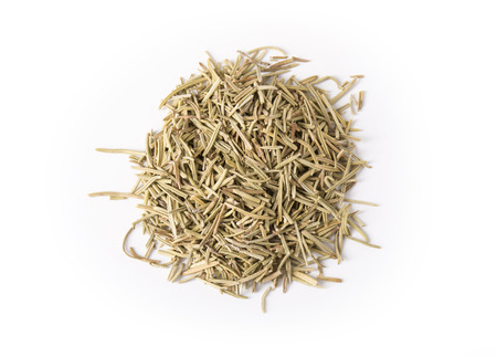 Pile of dried rosemary on white.