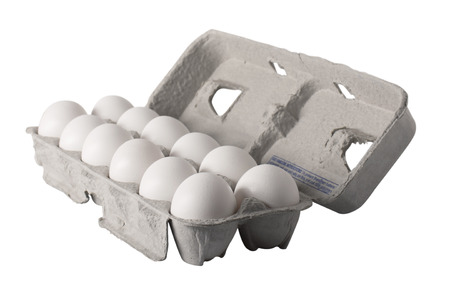 dozen: A carton of a dozen fresh eggs, angled view