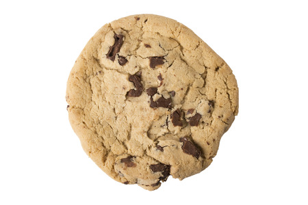 decadent: A single chocolate chip cookie from overhead, isolated on white.