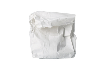 possibly: A small white paper bag, wrinkled, possibly for fast food, folded, isolated on white.