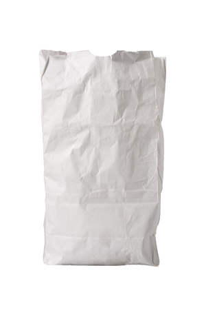 grease: A small white paper bag, wrinkled with some grease spots, possibly for fast food, sitting upright, isolated on white Stock Photo