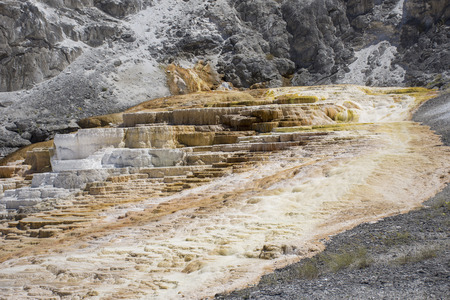 Terraces at Mammoth Hot Springs, Yellowstone National Park, United States Stock Photo