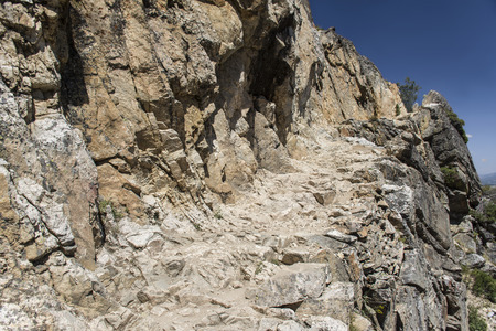 national scenic trail: A very rocky hiking trail ascending upwards. Taken on the Inspiration Point Trail, Grand Teton National Park, United States Stock Photo