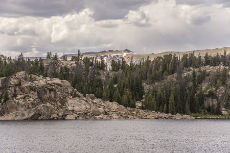 scenic drive: Long lake, along Beartooth Highway scenic drive, WyomingMontana, United States
