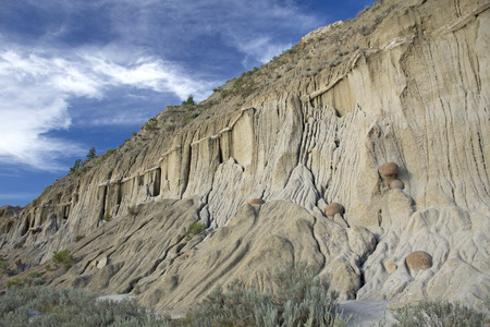 Interesting rock formations in Theodore Roosevelt National Park. Stock Photo