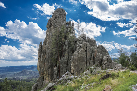 Rock formations along Needles Highway on a beautiful sunny day in Custer State Park, South Dakota, USA. Stock Photo