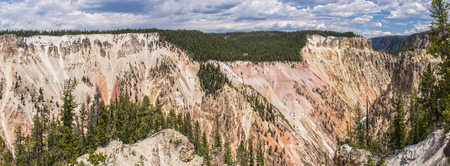 Panoramic view of Grand Canyon of the Yellowstone in Yellowstone National Park, Wyoming, United States.