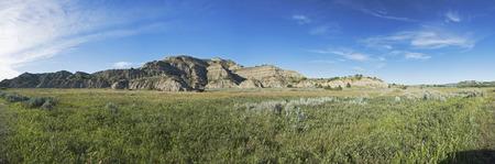 Panoramic View of Theodore Roosevelt National Park landscape, North Dakota, USA. Stock Photo