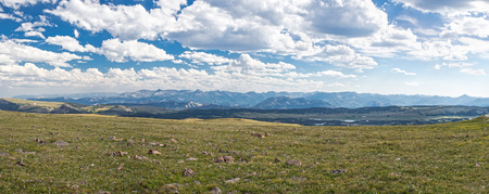 Overlook from Beartooth Highway scenic drive, MontanaWyoming, United States Stock Photo