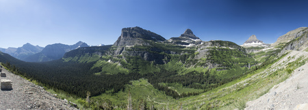Extended Panoramic view from Going-to-the-Sun Road in Glacier National Park, Montana, United States.