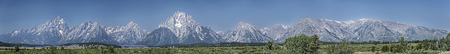 Extra-Long Panoramic view of the Grand Tetons in Wyoming, United States. Stock Photo