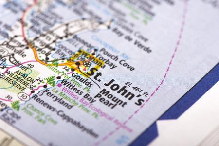 newfoundland: Closeup of St. Johns, Newfoundland and Labrador on a political map of Canada.