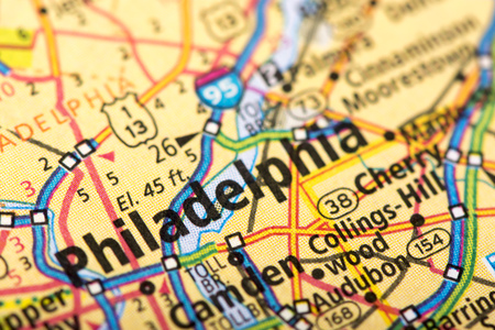 Closeup Of Philadelphia, Pennsylvania On A Political Map Of The ...