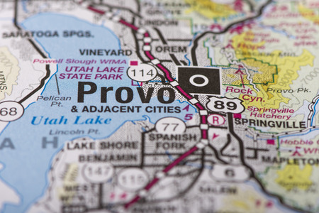 Closeup Of Provo, Utah On A Political Map Of The United States ...