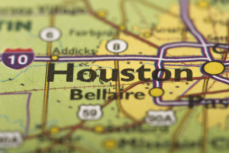 Closeup Of Houston, Texas On A Political Map Of The United States ...