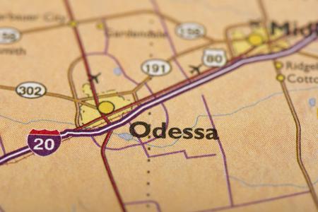 クローズ アップのオデッサ、テキサス州アメリカ合衆国の政治的な地図。