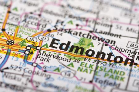 Closeup of Edmonton, Alberta, Canada depicted a road map.