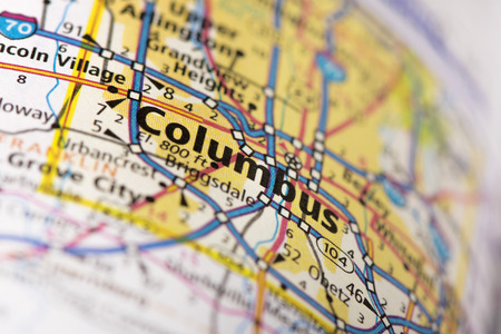 Closeup Of Columbus, Ohio On A Road Map Of The United States. Stock ...