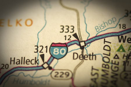 interstate 80: Closeup of Interstate 80 in Nevada on a road map of the United States. Stock Photo