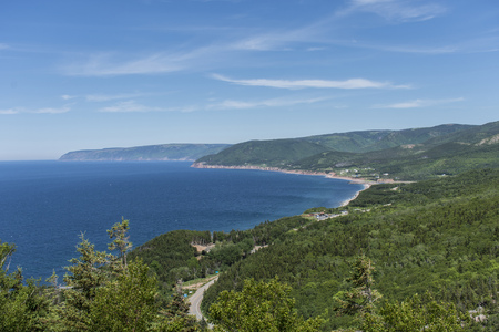 maritimes: View of Northwestern side of the Cabot Trail on Cape Breton Island. Stock Photo