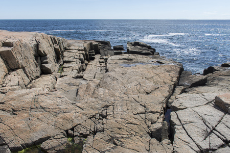 Jagged Rocks found on the Shoreline Schoodic Point, in Acadia National Park, Maine, United States
