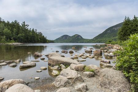 Jordan Pond on Mount Desert Island (Wider Zoom), Acadia National Park, Maine, USA Stock Photo