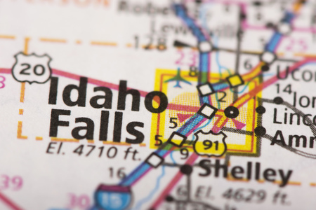 Closeup Of Idaho Falls ID On A Road Map Of The United States