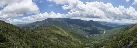 Panoramic View from Cannon Mountain in Franconia Notch State Park, New Hampshire, USA - showing Interstate 93 in the distance